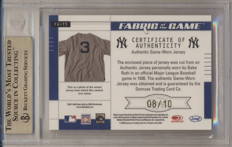 newest 2cf73 04379 Gary's Game Used Card Collection - Babe Ruth